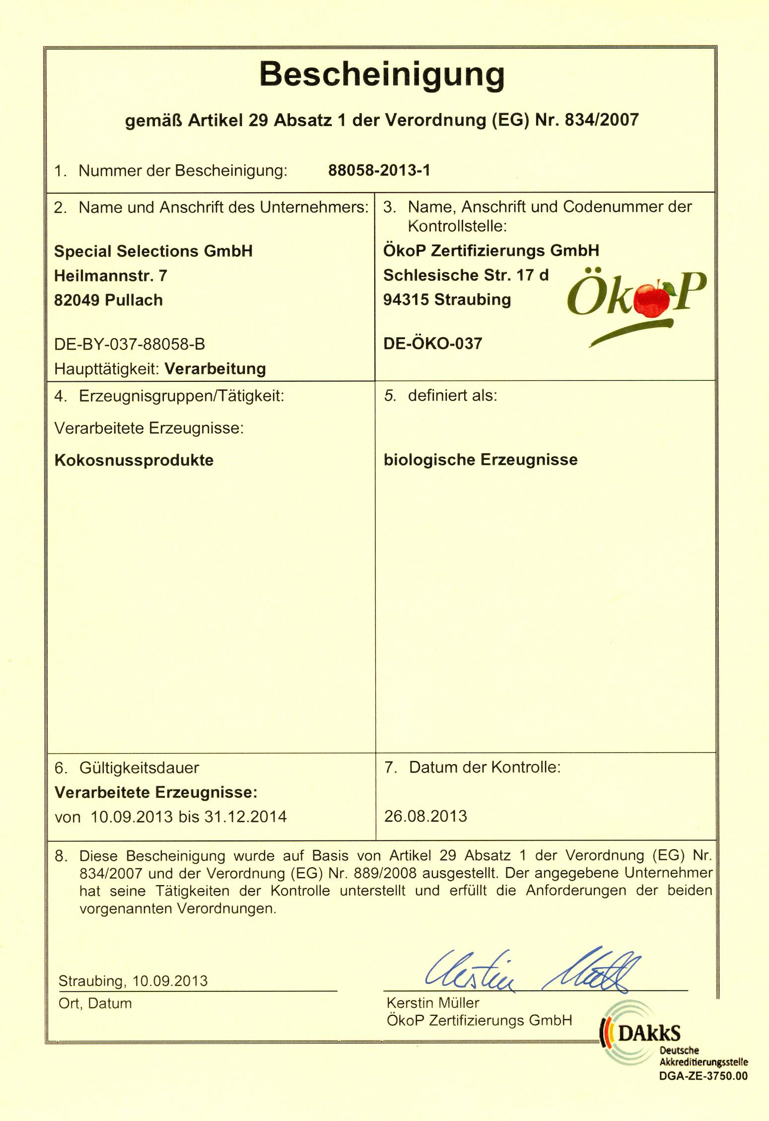 Ökop Certificate
